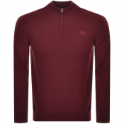 BOSS HUGO BOSS Barlo Half Zip Knit Jumper Burgundy